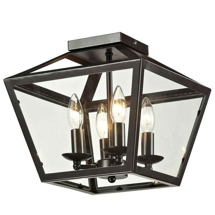 Foyer ceiling light - Trapezoid Glass Flush Mount Ceiling Lantern - Option A