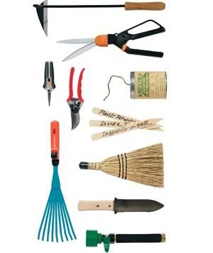 Japanese gardeners knife (or hori-hori): This favorite of many professionals does five jobs well. Use it instead of a trowel for digging, planting bulbs, and weeding. The saw blade cuts roots and divides small perennials. The pointed end is a crevice tool.