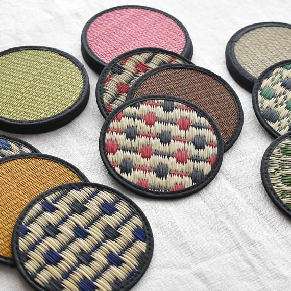 Japanese coasters, Igusa, rush grass coasters. Very traditional and yet modern design. Great gift.  い草のコースター