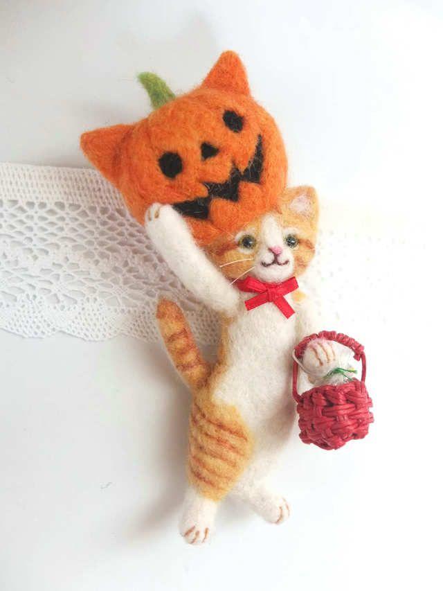 「ぼくだよ。」ハロウィン猫 茶☆羊毛