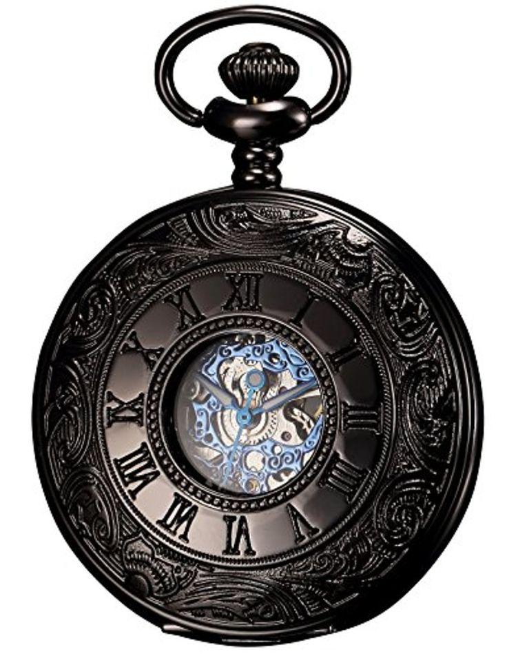 KS - KSP032 - Montre de Poche - Mécanique - Antique design - Boîtier Noir Creux Retro - Roman Numeroes 2017 #2017, #Montresdepocheetgoussets http://montre-luxe-homme.fr/ks-ksp032-montre-de-poche-mecanique-antique-design-boitier-noir-creux-retro-roman-numeroes-2017/