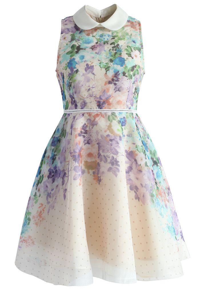 Romantic Garden Organza Peter Pan Collar Dress - New Arrivals - Retro, Indie and Unique Fashion
