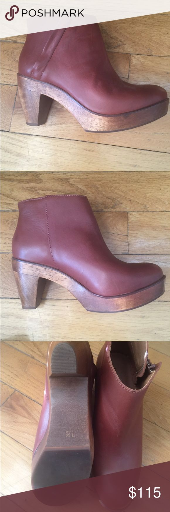 Anthropologie -Kelsi Dagger Clog Boot The Aetna Clog by Kelsi Dagger with wooden platform and angled zipper. Brown leather. Excellent Condition. Kelsi Dagger Shoes Mules & Clogs