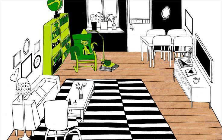 Perché non creare un angolo di lettura in soggiorno? Come puoi vedere nel disegno, evidenziato in verde, un angolo di questo soggiorno è stato dedicato alla lettura e al relax.