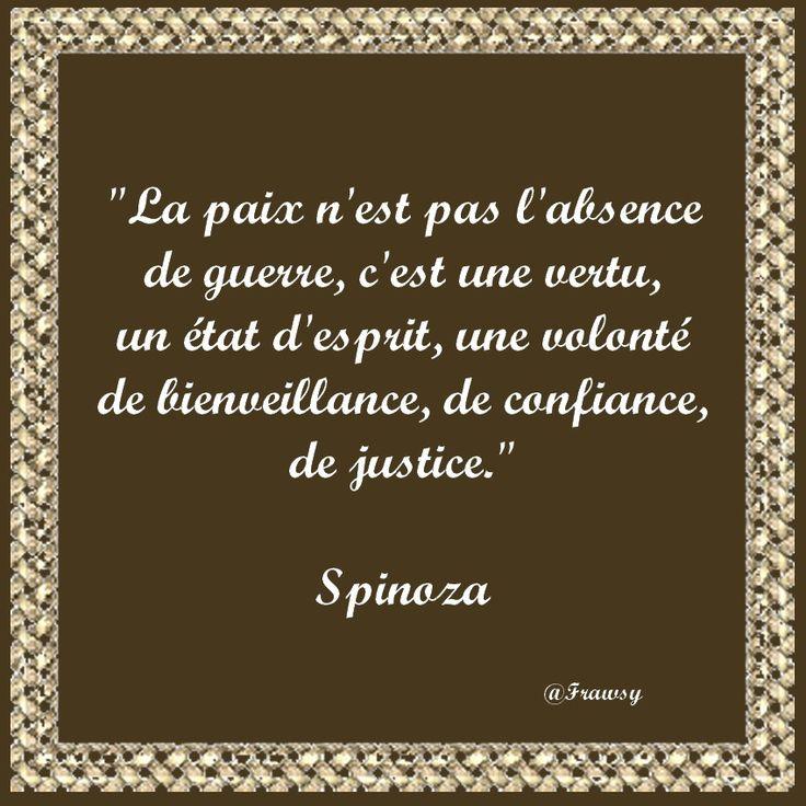 Citation de Spinoza - Paix ou Guerre - Frawsy