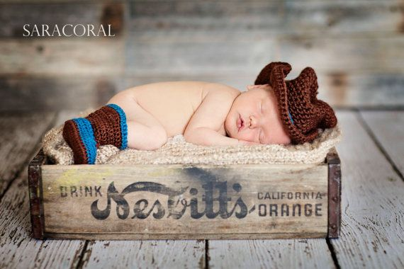 Newborn Cowboy Cowgirl Hat Boots Photo Prop by BBeautifulDesign