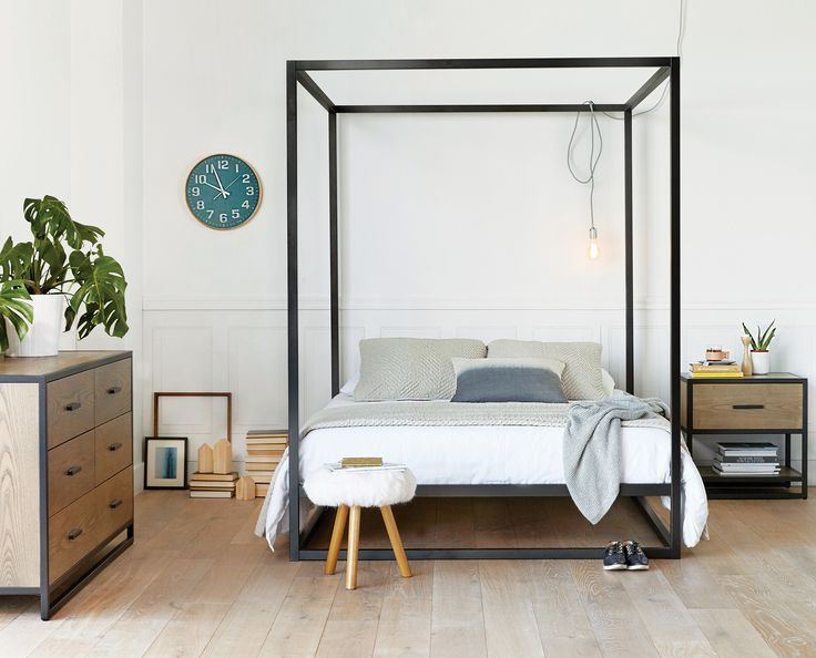 Scandinavian Designs - Enjoy the romantic style of the Oppet canopy bed, adding height and dimension to your bedroom space. This elegant design features clean lines and a platform support that eliminates the need for box springs. Queen bed pictured, click below from more sizes.