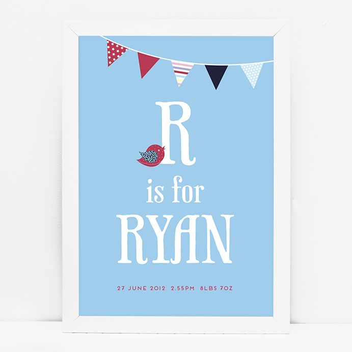 Personalised baby boy bunting print // BLUE/RED © Paper Chain Creative Studio  www.facebook.com/paperchain