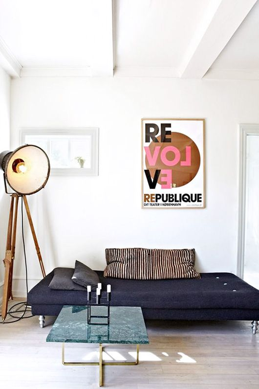 poster art in modern white living room / sfgirlbybay