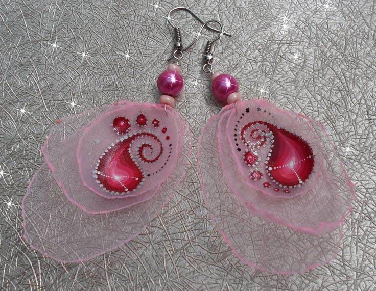 Earrings made ​​of cloth with hand-painted...Ar-Mari Rubenian