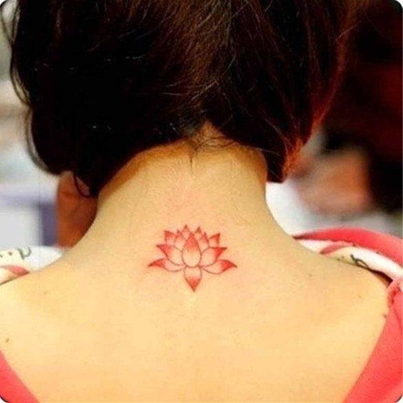 Red Lotus Flower Tattoo Wrist 2pcs red lotus