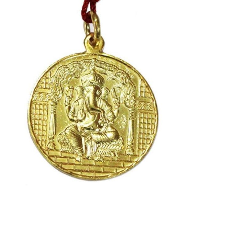 Ganesh Yantra Pendant Copper Gold Plated Blessed And Energized Locket Bappa