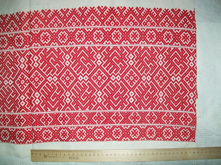 North Russian traditional weaving. Linen, cotton, patterned weaving. Ornament copied from the traditional Russian women's skirts of the XIX century.