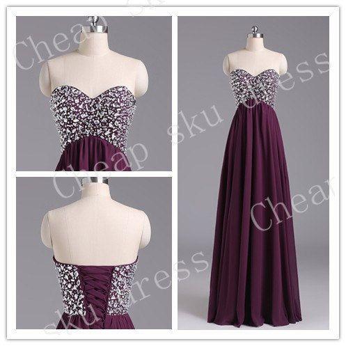 Hot Sale A-line Sweetheart Chiffon Sexy Lace-up Beads Long Bridesmaid Dress Party Dress Evening Dress Prom Dress Formal Dress 2014