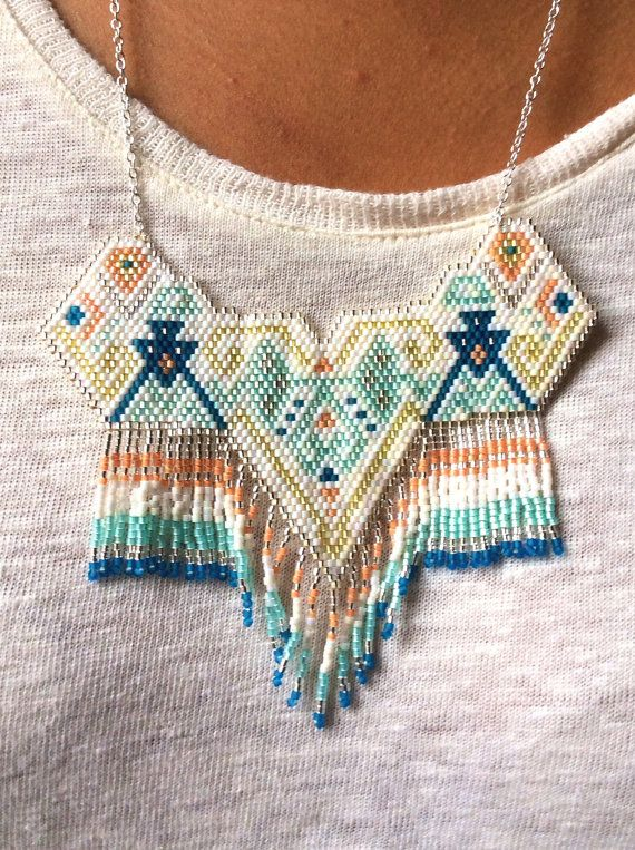 Handmade brick stitch necklace (turquoise, blue, yellow and peach)