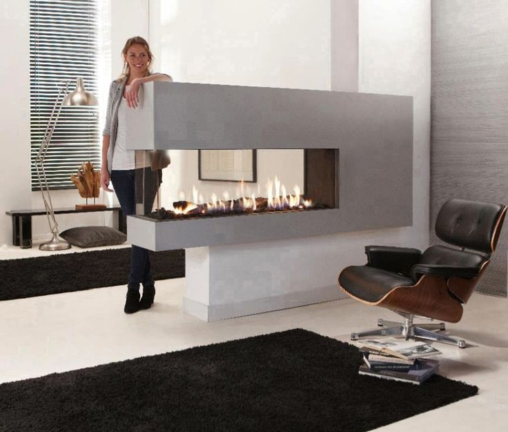 Grey Contemporary Double Sided Gas Fireplace in Living Room:Grey Contemporary Double Sided Gas Fireplace in Living Room