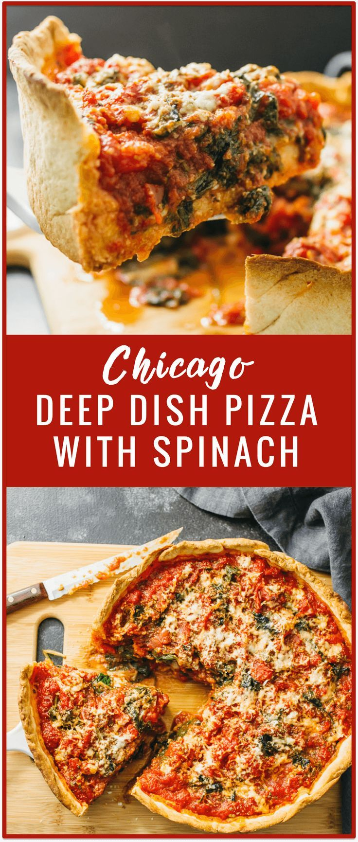 Chicago deep dish pizza with spinach - Don't live in Chicago but craving deep dish pizza? No problem! In this recipe, I'll show you how to make homemade Chicago deep dish pizza with spinach from scratch! The dough is easy to prepare and the filling can be of your own choosing. - http://savorytooth.com