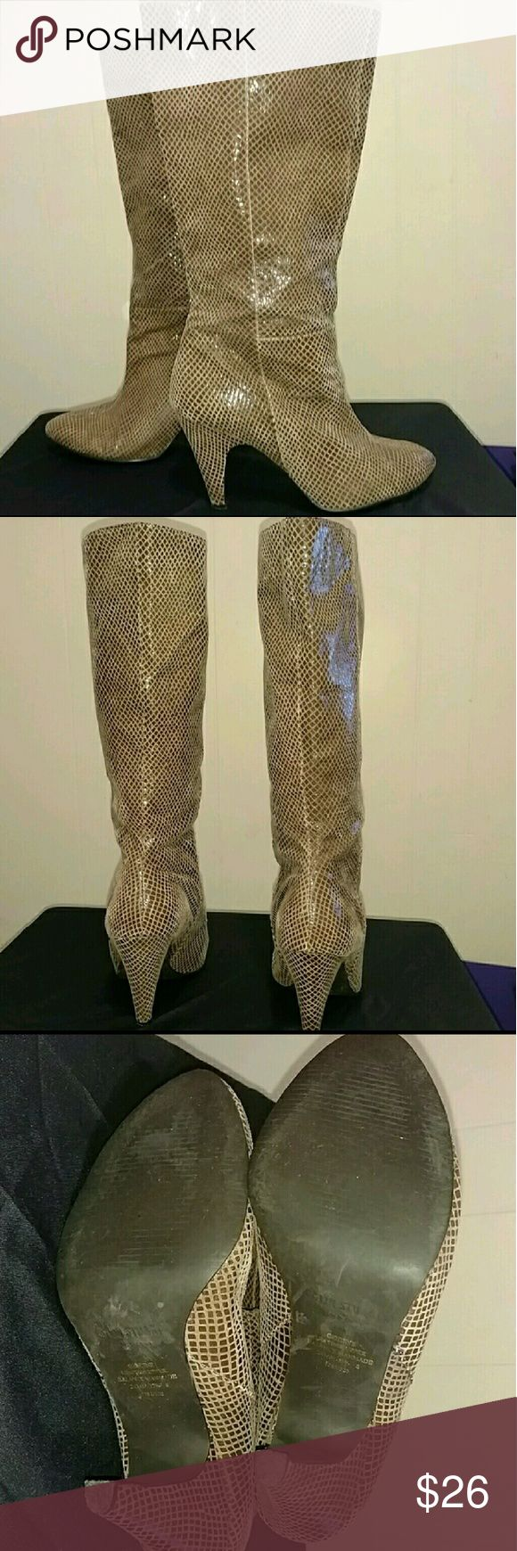 Colin Stuart Brown Leather Animal Print Boots Genuine Leather animal print boots In excellent used condition. Beautiful boots with lots of life left. No box.  Calf circumference is 15 inches, they give but aren't  stretchy material, no zipper.  Approximately 3.5 inch heel. Colin Stuart Shoes Ankle Boots & Booties