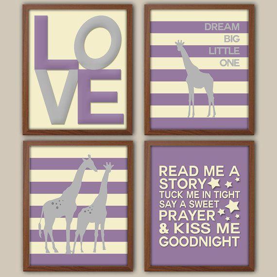 Nursery Art - Girls Purple Nursery Art - Purple And Gray Nursery - Nursery Giraffe Art - Love - Nursery Quote - Set Of Four Prints