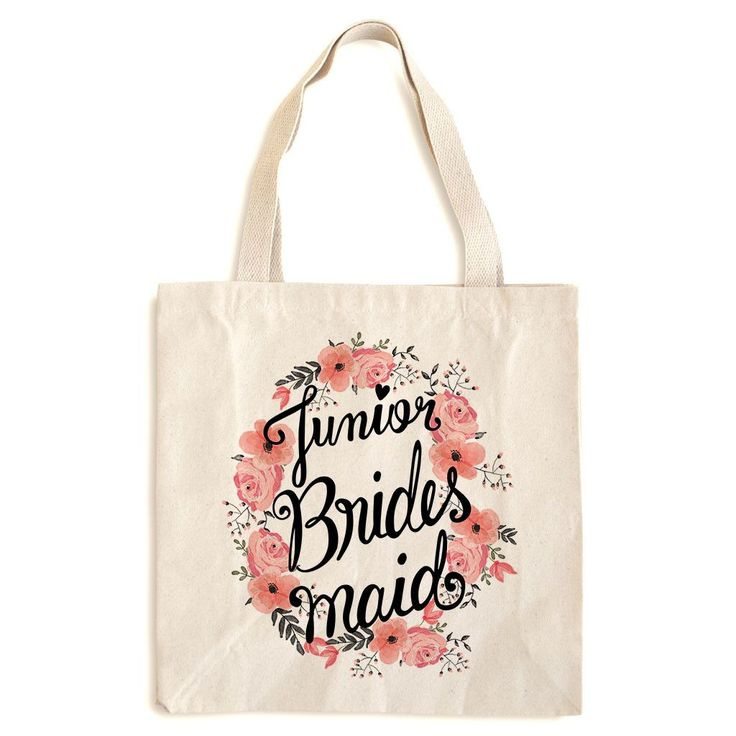 If you are looking for a unique and special Bridesmaid gift for your Junior Bridesmaid, our high quality cotton canvas tote bag is a great keepsake for your little lady to remember your special day. P