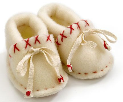 Baby Shoes- not a pattern but looks like others that I have. Use tie instead of elastic. Wool or fleece and some handstitching