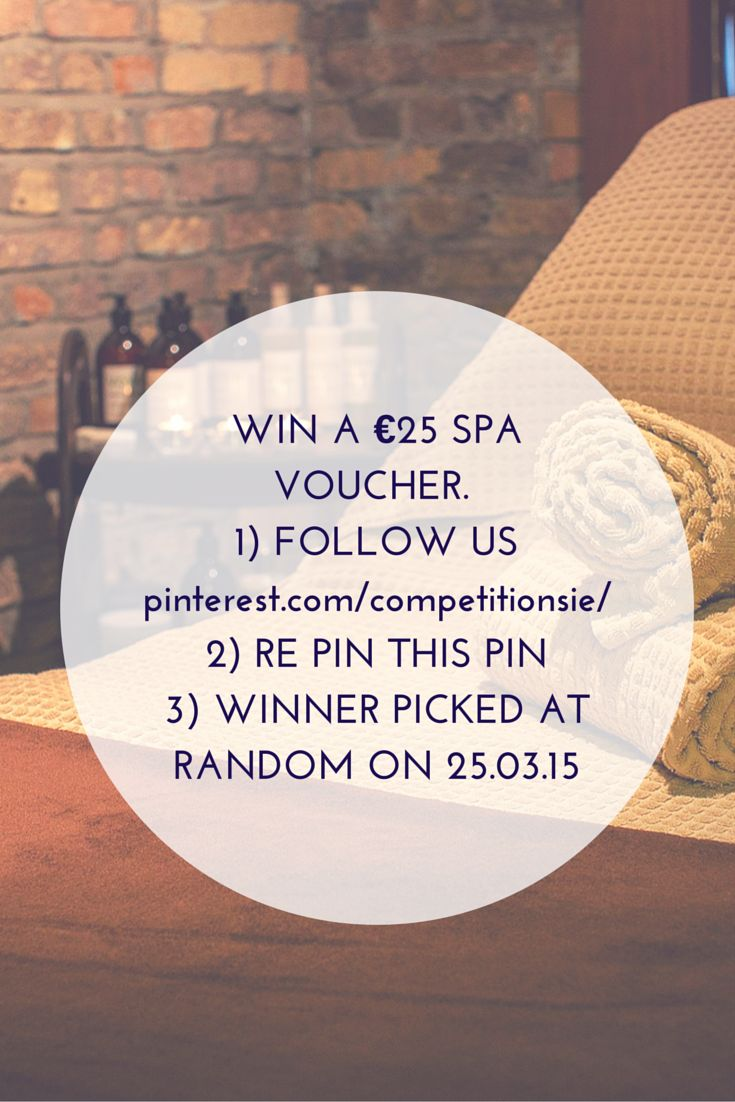 Win a €25 Spa Voucher - http://www.competitions.ie/competition/win-a-e25-spa-voucher/