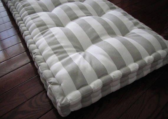 Custom Bench Cushion Gray And White Canopy Stripe Window Seat Etsy Custom Bench Cushion Bench Cushions Window Seat Cushions
