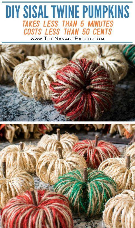 Diy Sisal Twine Pumpkins A 5 Minute Craft Craft Ideas