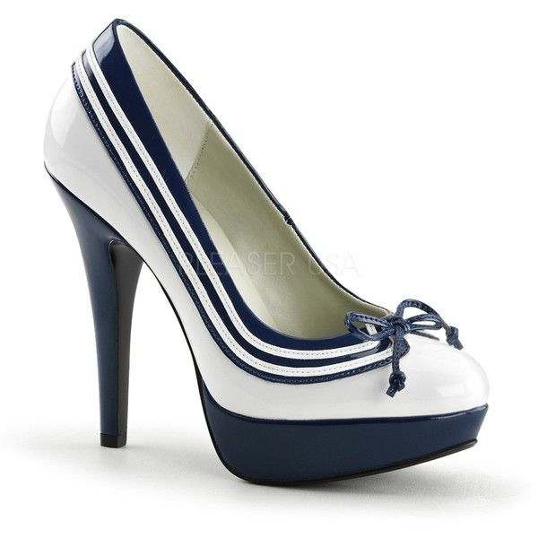 Pin Up Couture Lolita 13 Blue and White Stripe Peep Toe Pumps with... ($69) ❤ liked on Polyvore featuring shoes, pumps, high heel platform pumps, high heeled footwear, peep-toe pumps, striped pumps and peeptoe pumps