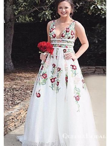 f8f27628ba 2019 V Neck White Embroidery Long Cheap Evening Prom Dresses