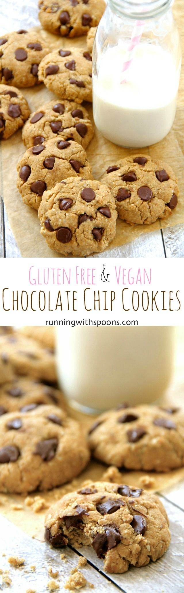 These delicious gluten free vegan chocolate chip cookies will please even gluten-eaters and non-vegans! Soft, chewy, and loaded with chocolate chips, they're a healthier cookie that everyone will love!