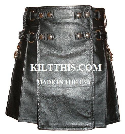 I love this!!!!   Leather Ladies Utility Kilt for sale modern kilt INTERCHANGEABLE PARTS. $299.00, via Etsy.