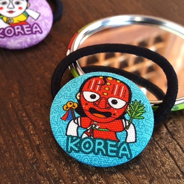 ::Korea Souvenir:: Bongsantal Button Hair tie (Chwibari / somu) 봉산탈 단추 머리끈