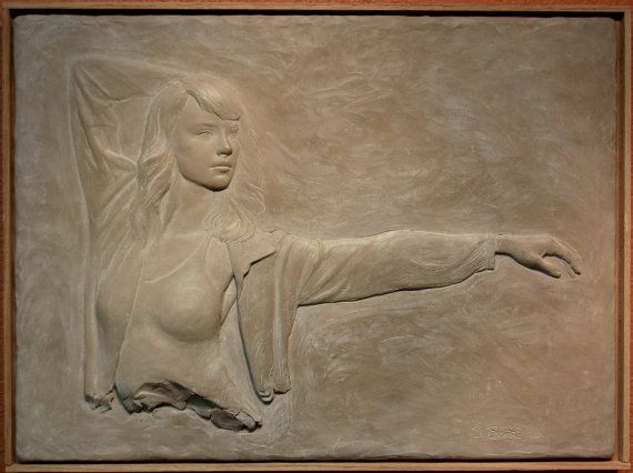 Reserved for Karen-woman bas relief by SuttonBettiSculpture