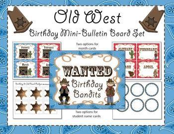 western bulletin board sets | Western / Cowboy Birthday Mini-Bulletin Board Set
