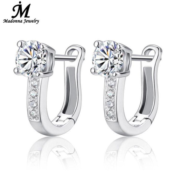 "Fashion 925 sterling silver stud earrings jewelry luxury Rhinestone inlaid ""U""design ear buckle earrings women jewelry >>> Uznayte bol'she o bol'shom produkte po ssylke izobrazheniya."
