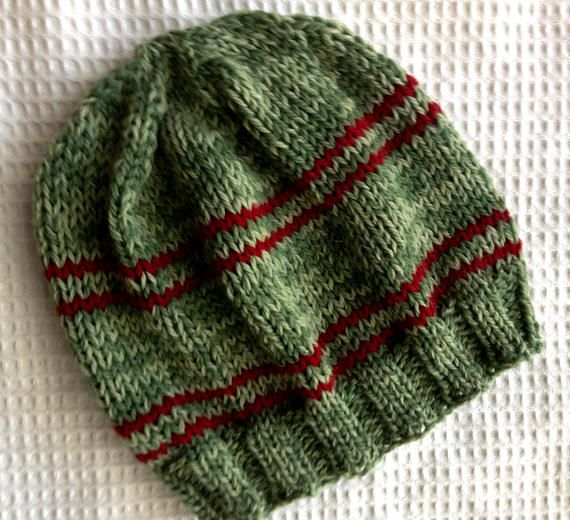 Green WoolKnit Hat with Red Bands. One of a Kind. Warm Knit