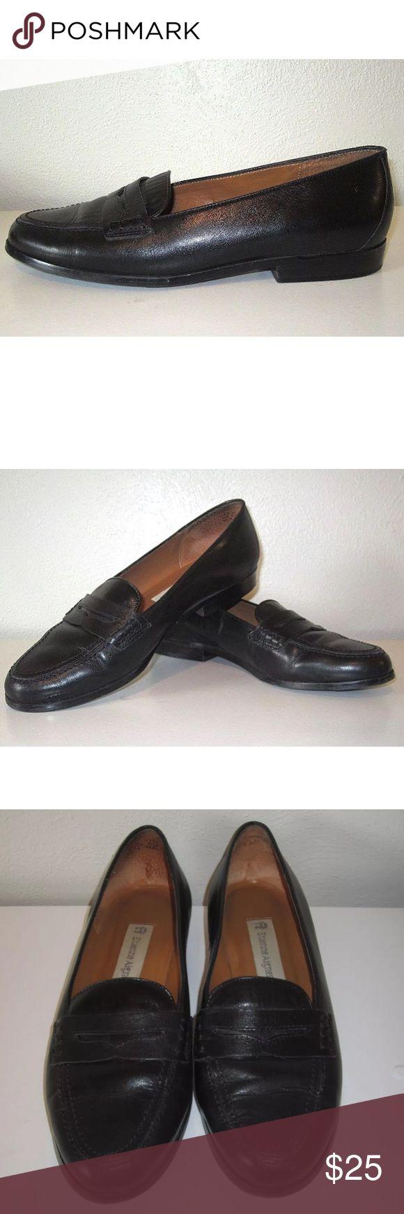 Etienne aigner black leather gloves - Etienne Aigner Black Leather Loafer Shoes 7m