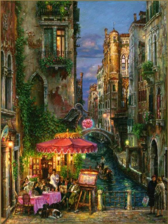 I love his work! Cao Yong red umbrella painting