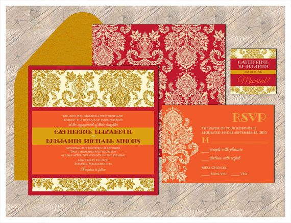 Contemporary Jewels Collection   An Elegant Pocket Invitations To Hold All  The Inserts   Modern Twist To Traditional Damask In Purple U0026 Gold. Indian  Wedding ...