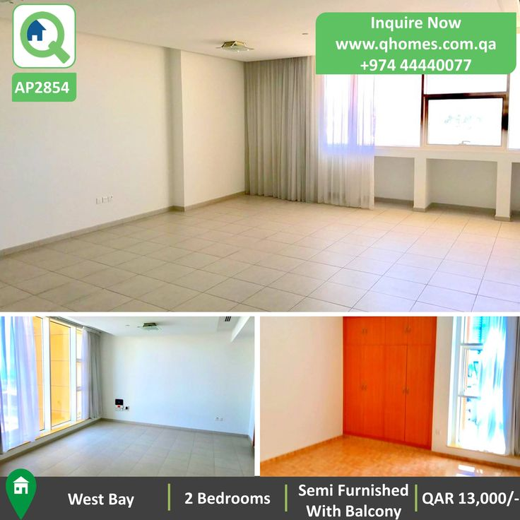 Apartment for Rent in West Bay - Semi Furnished 2 Bedrooms Apartment in West Bay with Balcony at QAR 13,000.  www.qhomes.com.qa