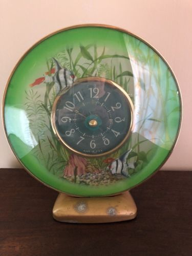VINTAGE-SESSIONS-ELECTRIC-SEA-LIFE-ROTATING-ANGEL-FISH-CLOCK-NIGHT-LITE-RUNS