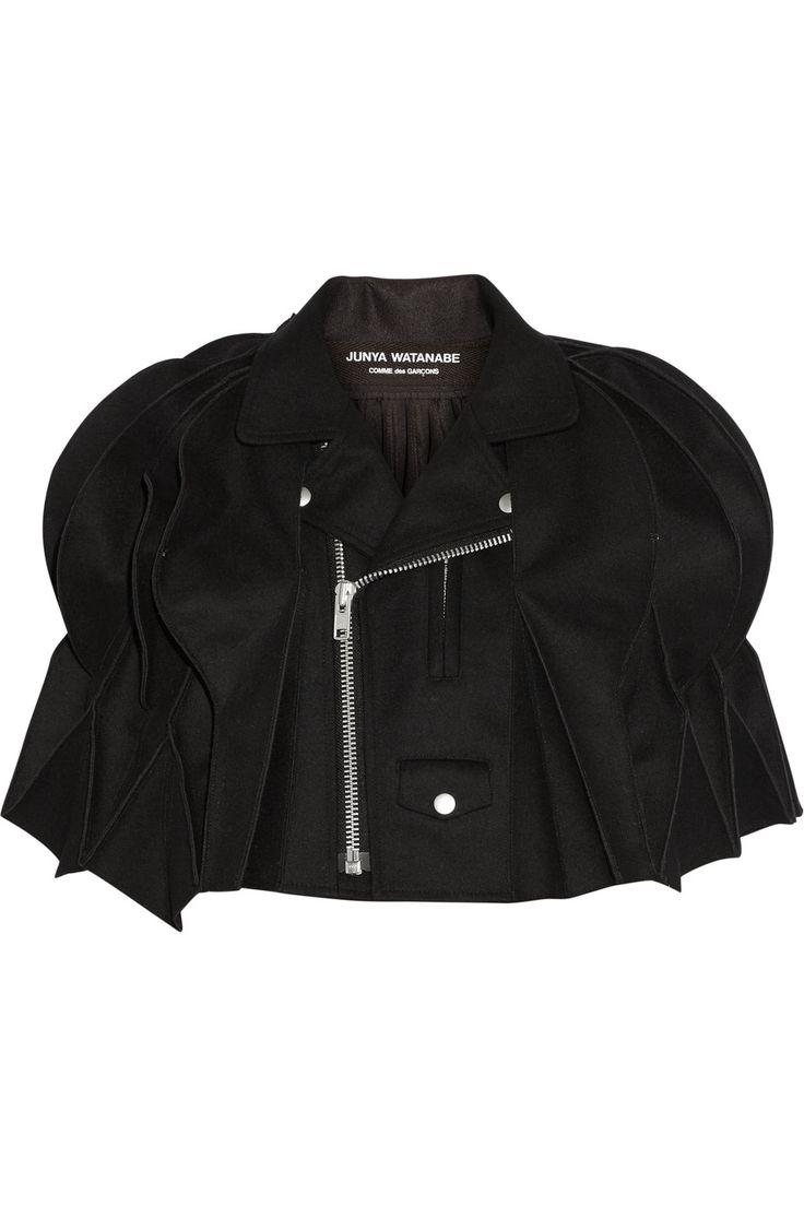 JUNYA WATANABE Cropped honeycomb-pleated melton wool-blend cape. #junyawatanabe #cloth #cape