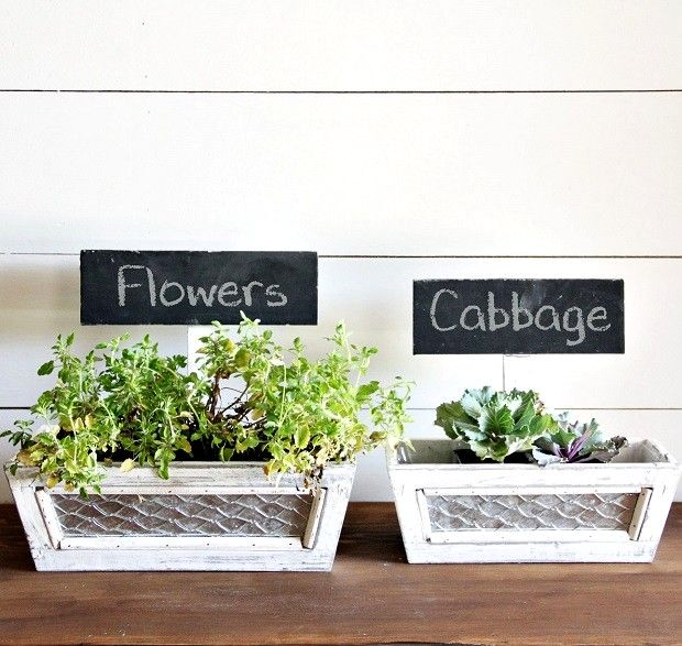 Wooden Planter Box With Chalkboard