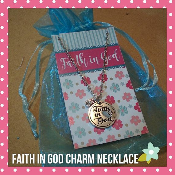 Faith in God necklace with rhinestone gem by uptomyneckjewelry