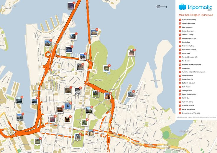 Free Printable Map of Sydney attractions from Tripomatic.com. Get the high-res version at http://www.tripomatic.com/Australia/Sydney/#tourist-map