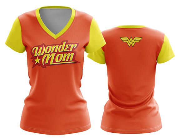 Custom V neck Sublimated Tee- in our Wonder Mom Artwork Orange with Yellow Collar and Sleeves Womens VNeck | Ladies TShirt | V-Neck | Tee Shirt | Exercise T-Shirt | Gym Gear | Yoga Gear | Girl Power | XS-5X | Graphic Tee | Custom T-Shirt | Ladies Clothing | Cosplay | Plus Sizes | Available in multiplayer colors  Made in the USA. -Custom V Neck Top designed, printed, cut and sewn to order in Phoenix, AZ -Great gift for her -82% Polyester / 18% Spandex blend. -4 way stretch which means fab...