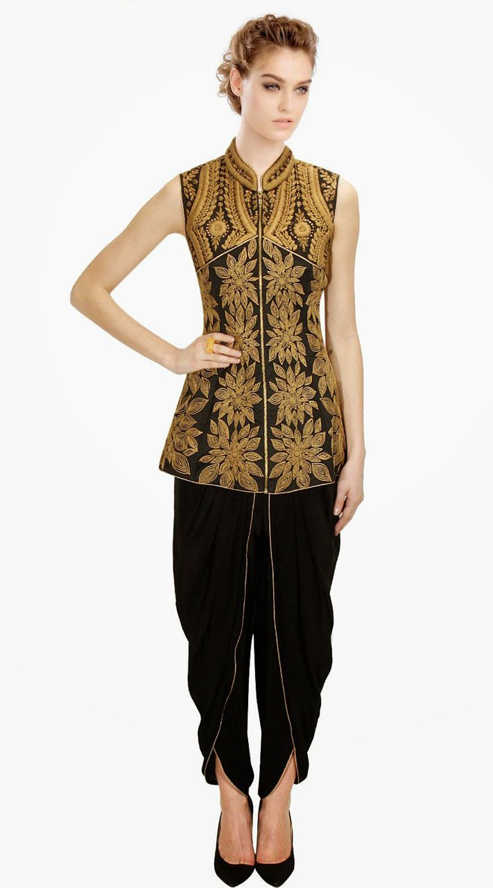 Black Silk Floral Embroidered IndoWestern Salwar Kameez