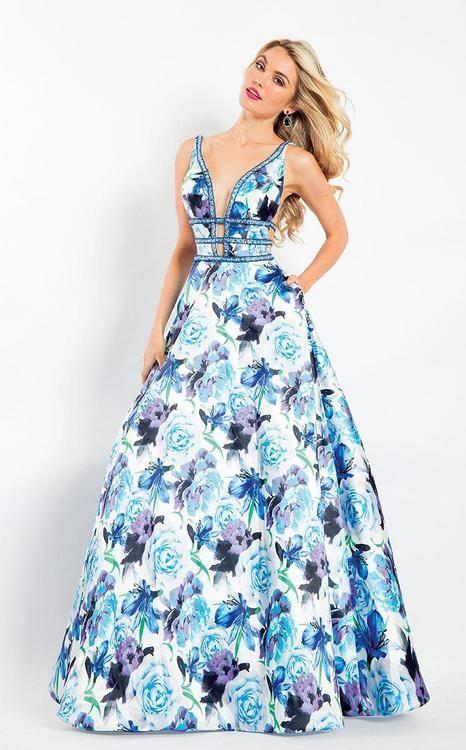 2b0ae8995d Rachel Allan - 6196 Floral Print Beaded Deep V-neck Ballgown in 2019 ...