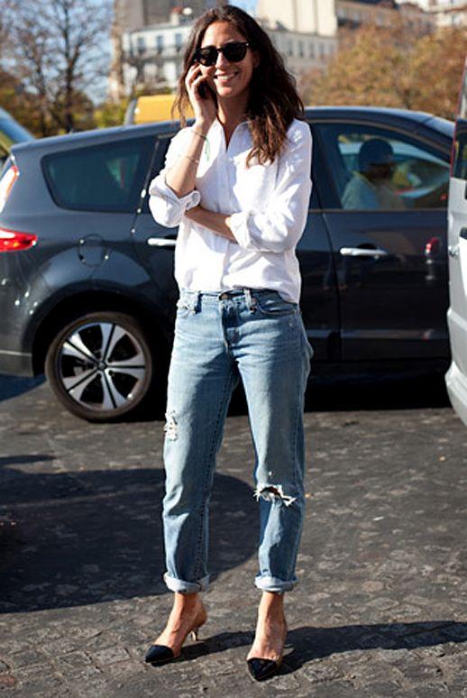 Classic white shirt, boyfriend jeans & cap-toe kitten heels #style #fashion #streetstyle